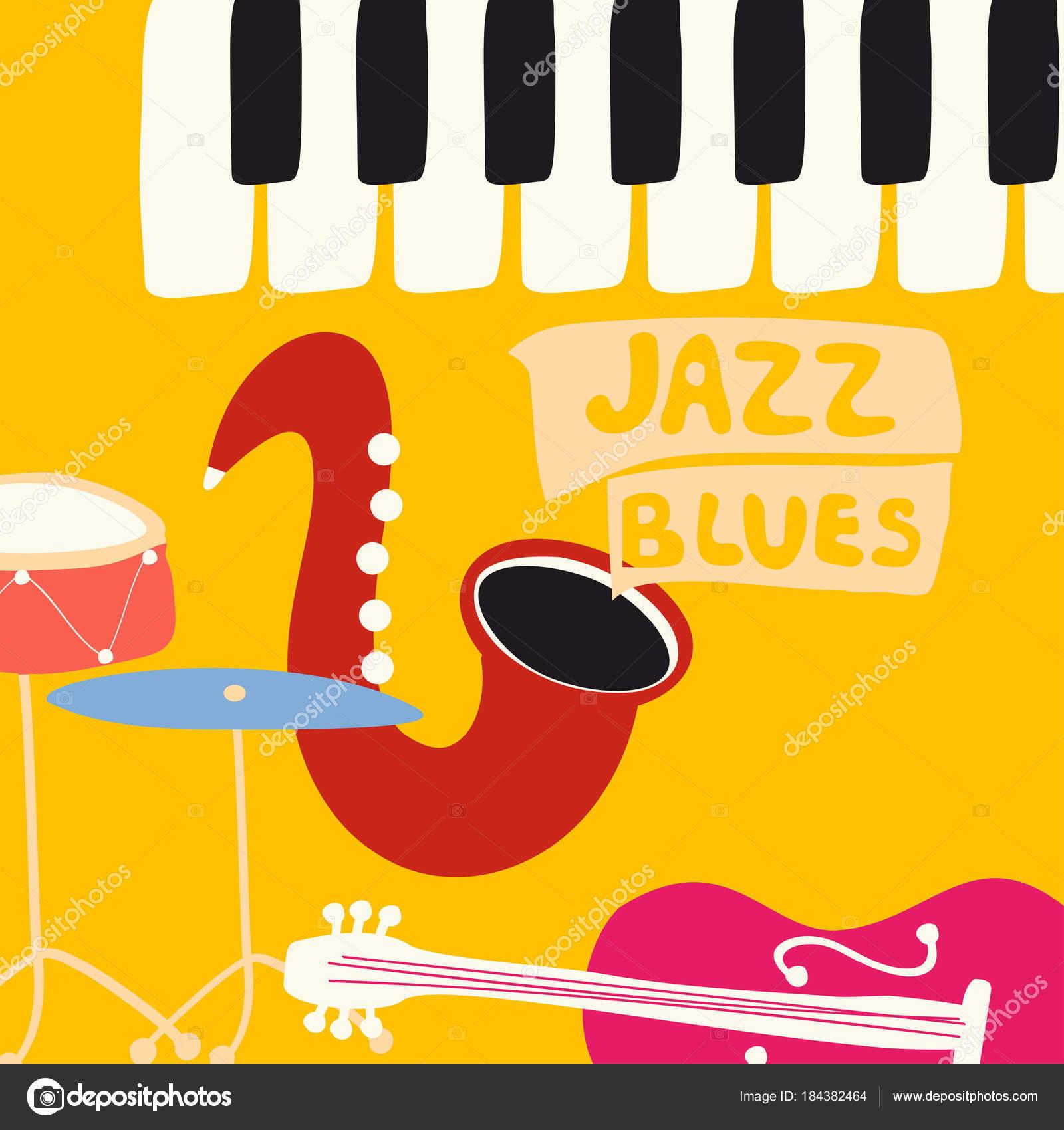 Plakat Festiwalu Jazz Blues Muzyka Instrumenty Muzyczne
