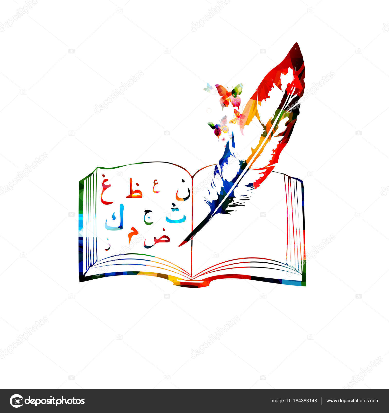 Creative Book Design Vector : Creative book design colorful arabic letters feather white