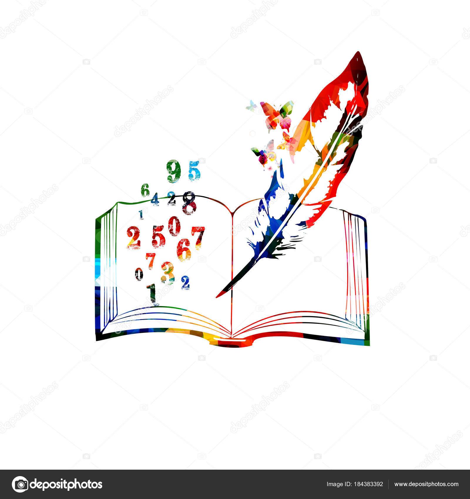 Diseño Del Libro Creativo Con Números Colores Pluma Sobre Fondo ...