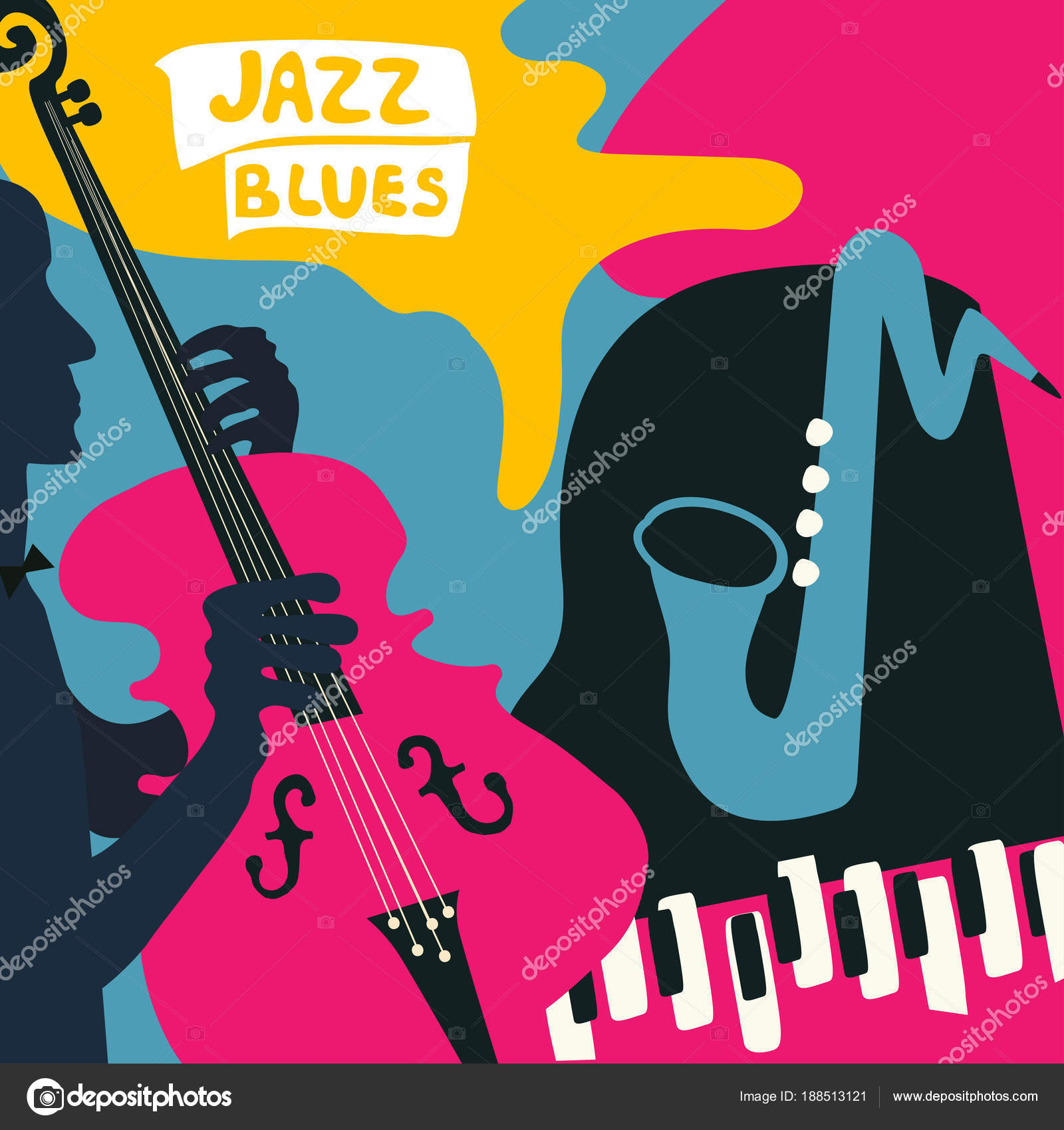 Jazz Music Festival Colorful Poster Music Instruments Gramophone