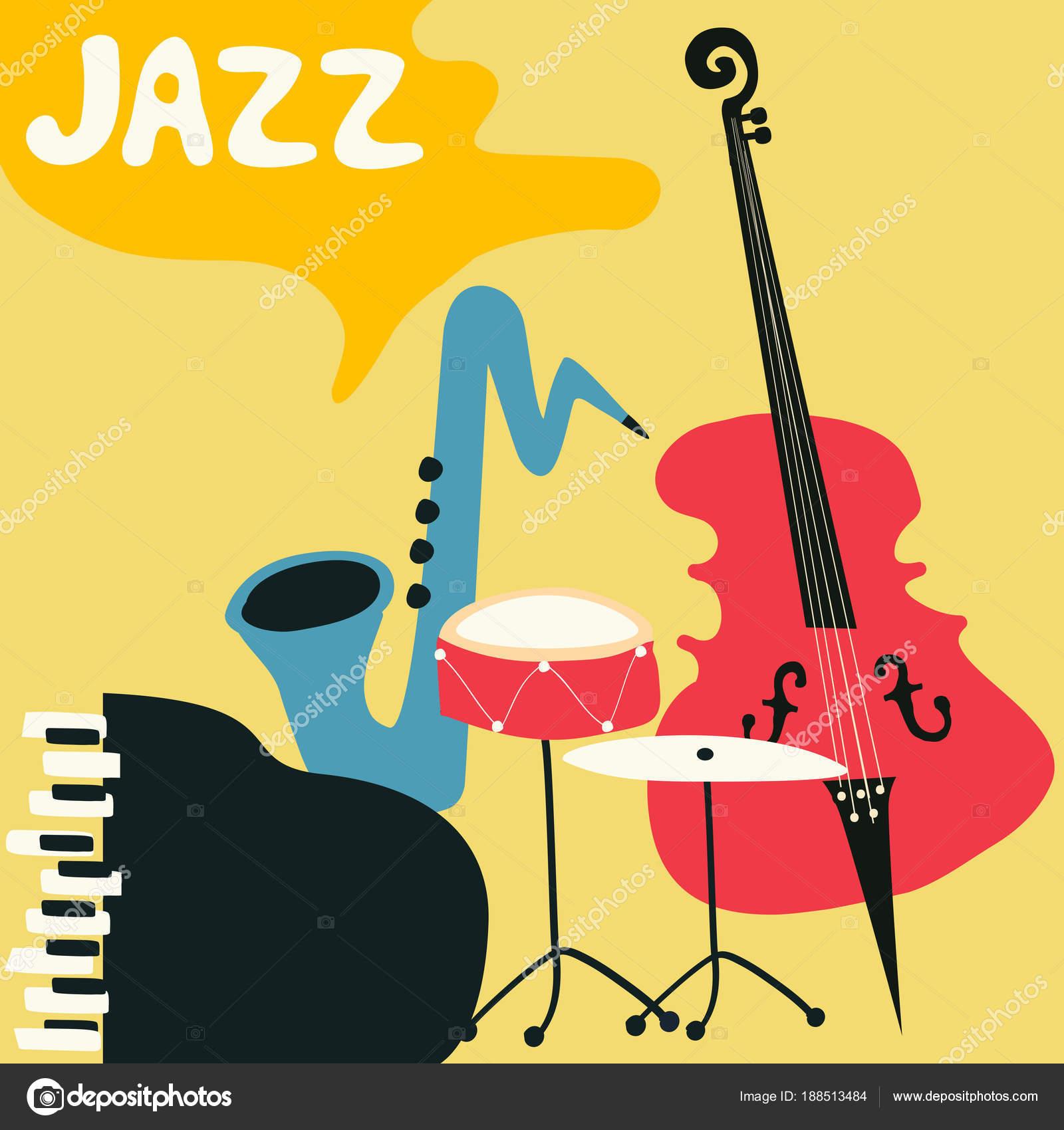 音楽器械のジャズ音楽祭カラフルなポスター 蓄音機 チェロ ギター