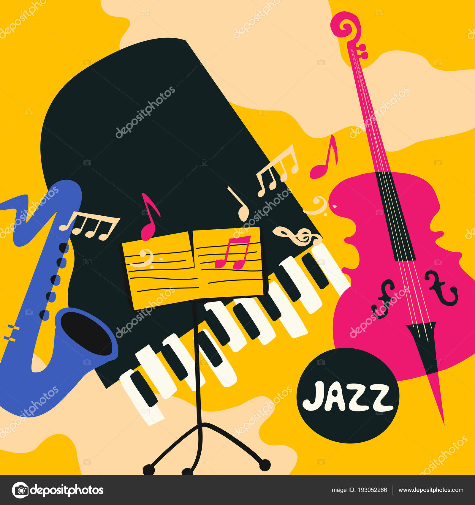 Colorful Template For Poster Of Jazz And Blues Music Festival Flat Vector Illustration With Grand Piano Stand Saxophone Violoncello By