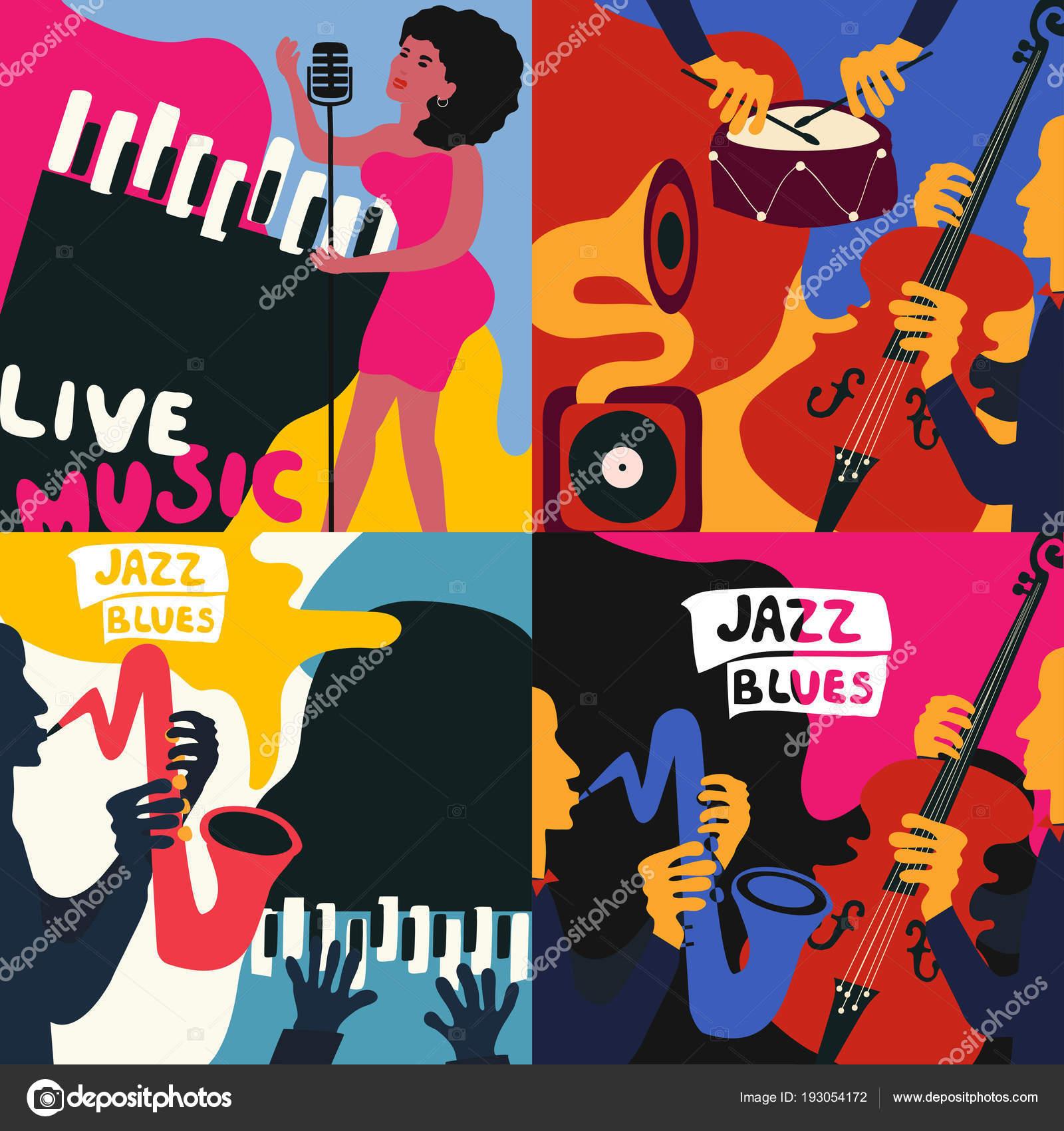 806ece35a45b9 Conjunto Cuatro Plantillas Carteles Del Festival Música Jazz Blues  Ilustración — Vector ...