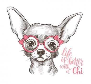 Girl Chihuahua illustration print