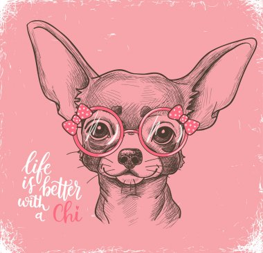 Girl Chihuahua illustration print.