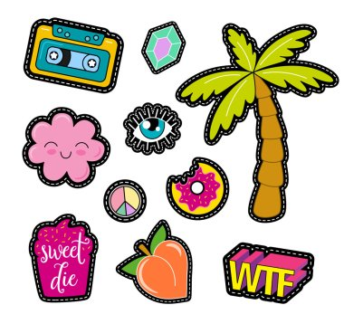pop art patches, pins, badges and stickers