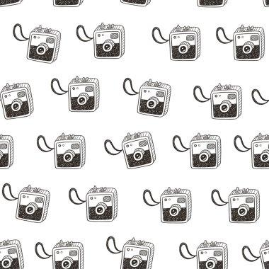 Doodle retro photo cameras seamless pattern