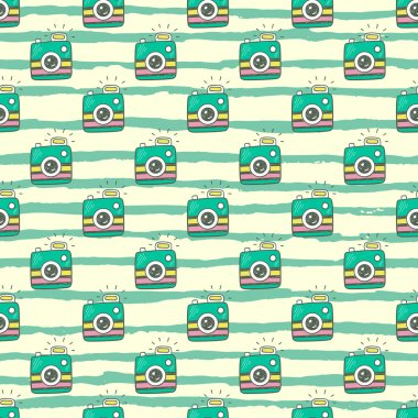 Doodle retro photo cameras seamless pattern.