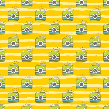 Doodle retro photo cameras seamless pattern