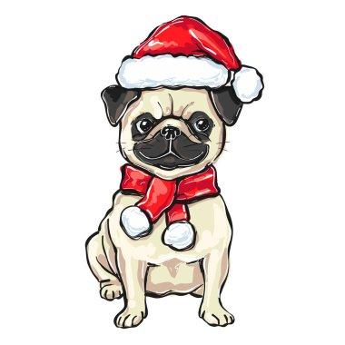 Funny christmas pug dog