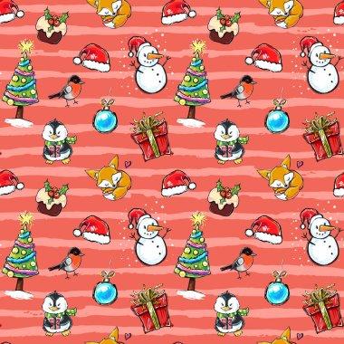 Happy Holidays illustrations set.