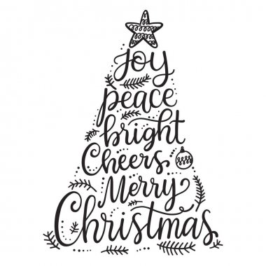 Merry Christmas phrases, hand lettering greeting card stock vector