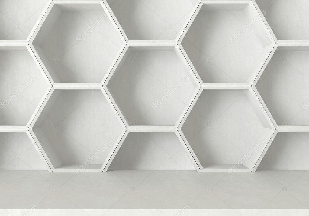 Biały Beton Tabeli I Sześciokąty Tło Półka Zdjęcie