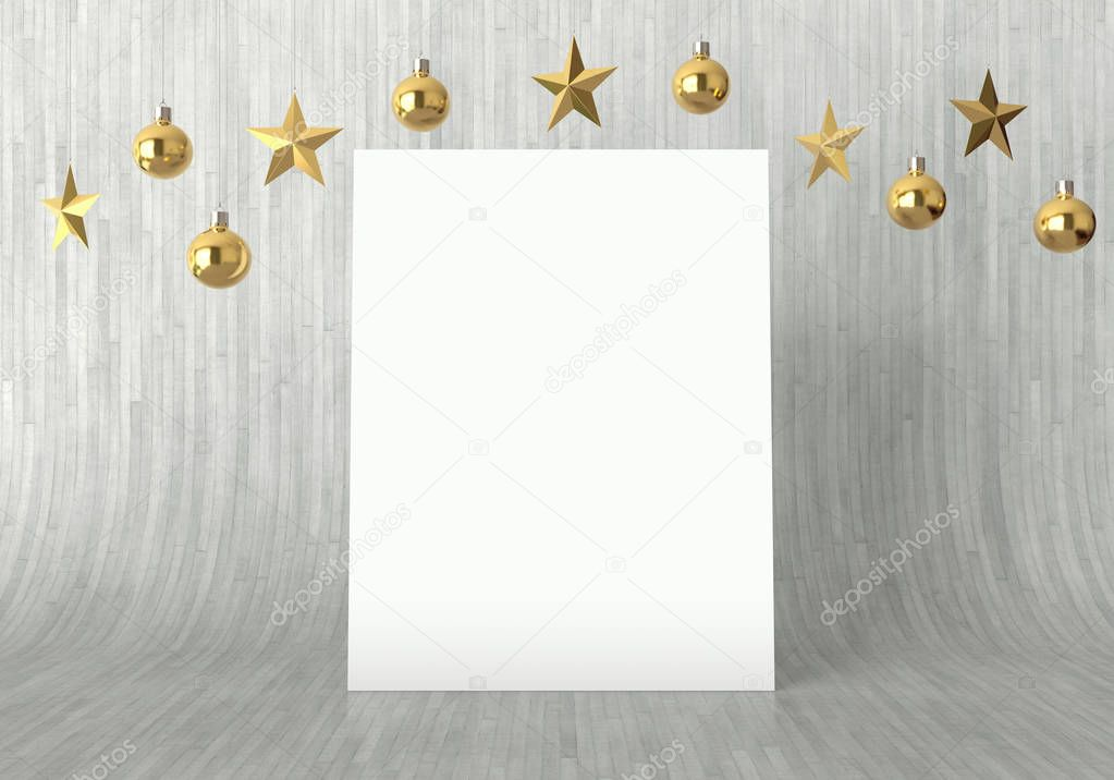 Blank Poster With Hanging Golden Balls And Stars Ornaments On Curved