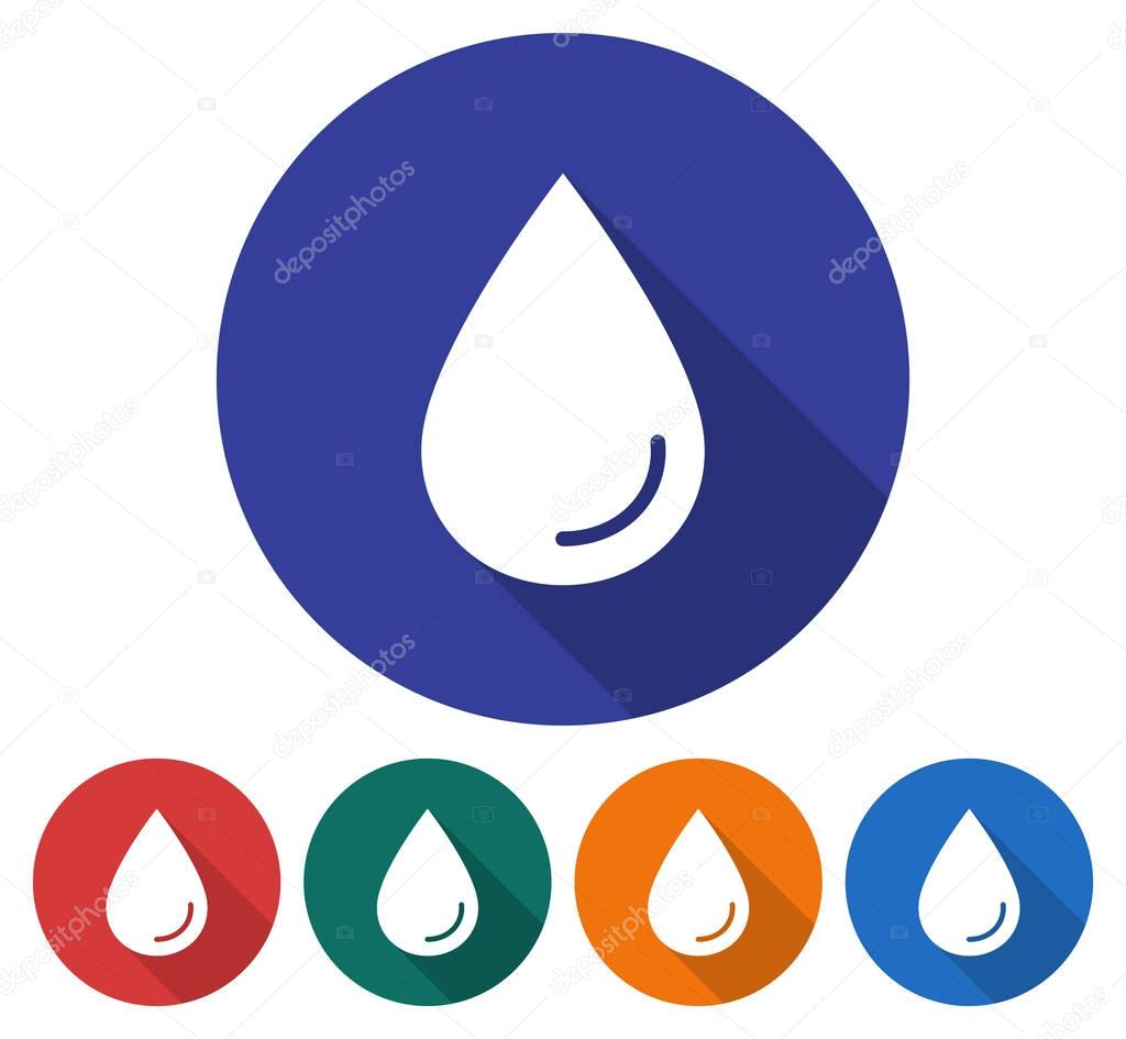 Round icon of a water drop. Flat style illustration with long shadow in five variants background color