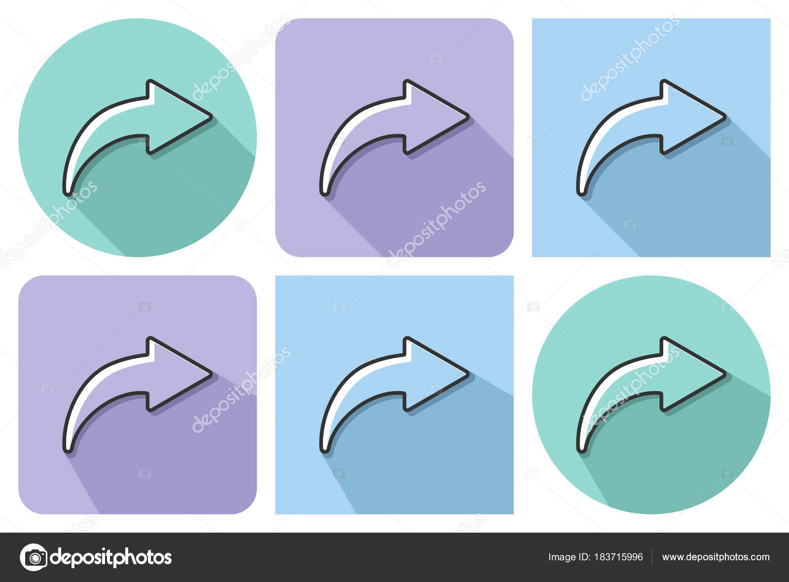 Outlined Icon Right Curved Arrow Parallel Long Shadows Stock Vector