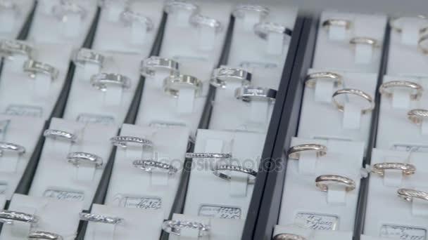 Showcase jewelry store: Diamond ring. Valentines Day Gift.