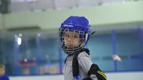 Rusko, Novosibirsk, 2017: Portrét chlapce hokejista