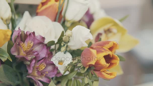 Beautiful and stylish bouquet: floral arrangement of colorful flowers