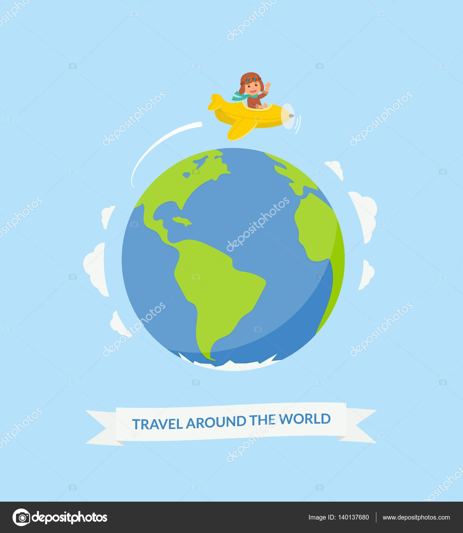Cartoon Boy Riding Plane Around The World Air Travel Cute Pilot On A Yellow