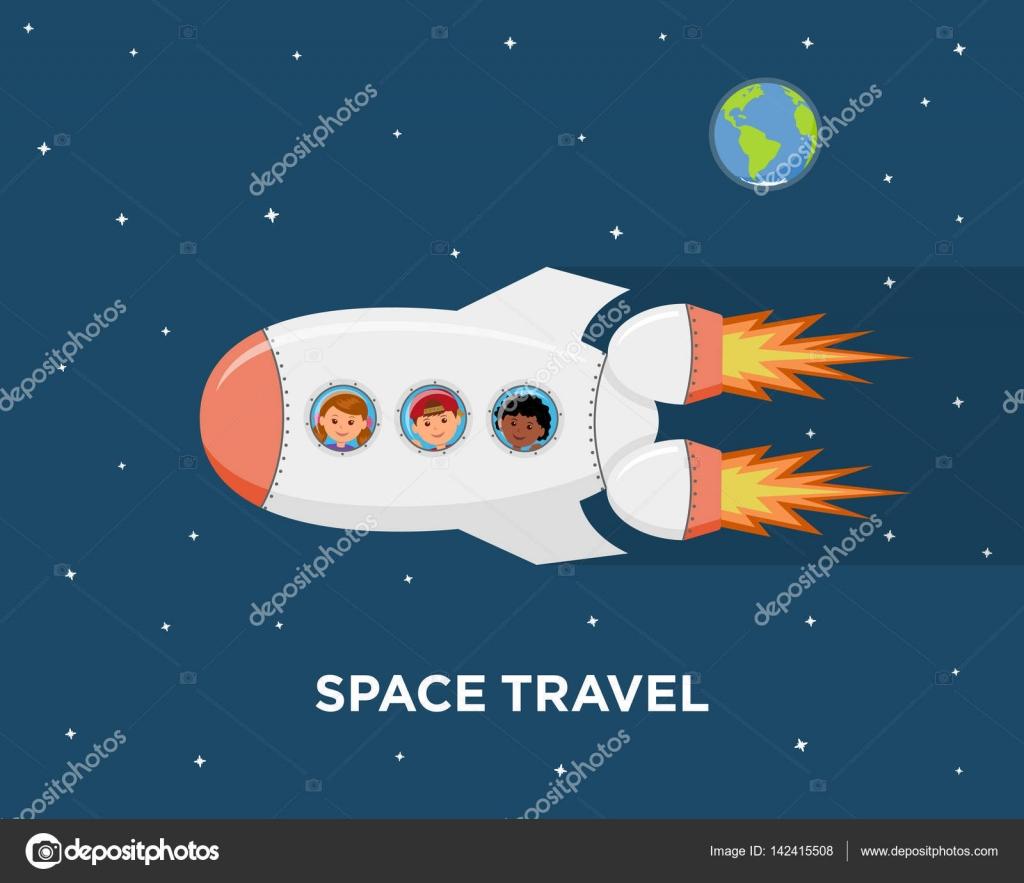 Viaggiare su una nave spaziale bambini di astronauti nello spazio
