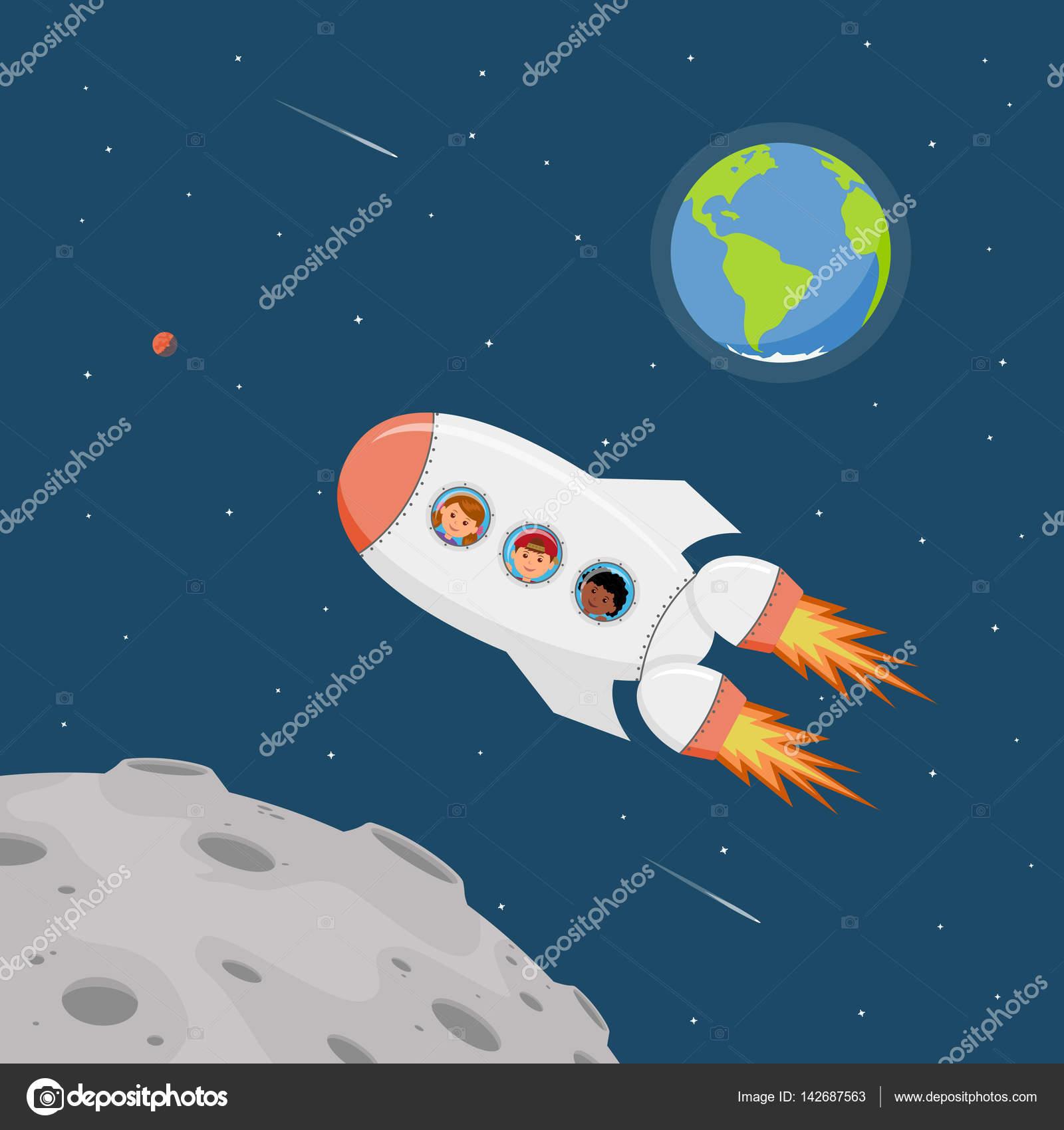 Viajar en una nave espacial ni os de los astronautas en - Dibujos infantiles del espacio ...