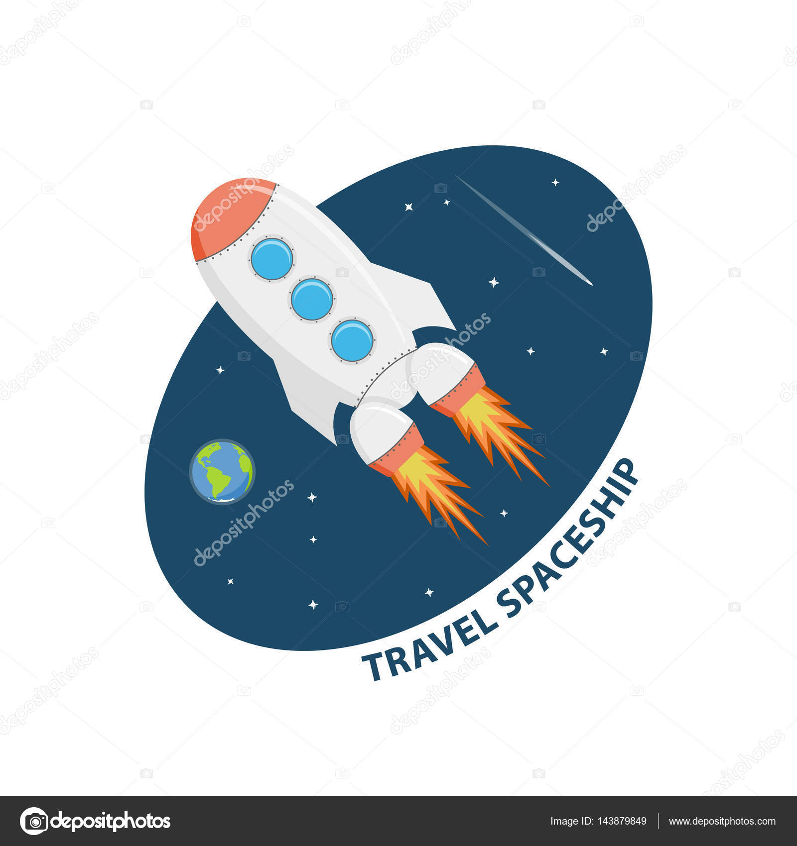 Symbol Space Flights And Research Icon Travel On Spaceship Cartoon Sticker Explore Isolated