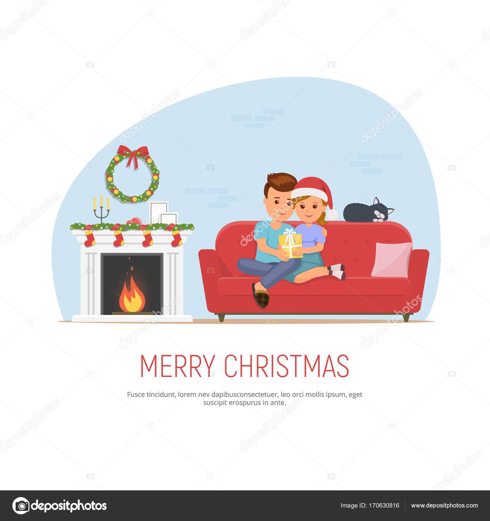 クリスマスを祝う幸せなカップル。女の子は男性にクリスマス プレゼント