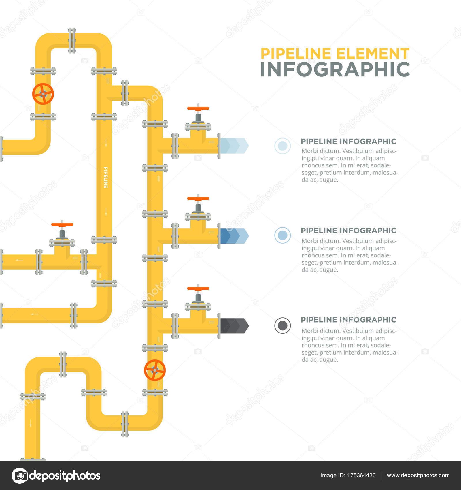 Plantilla de infografías de tuberías. Tuberías y válvulas — Archivo ...