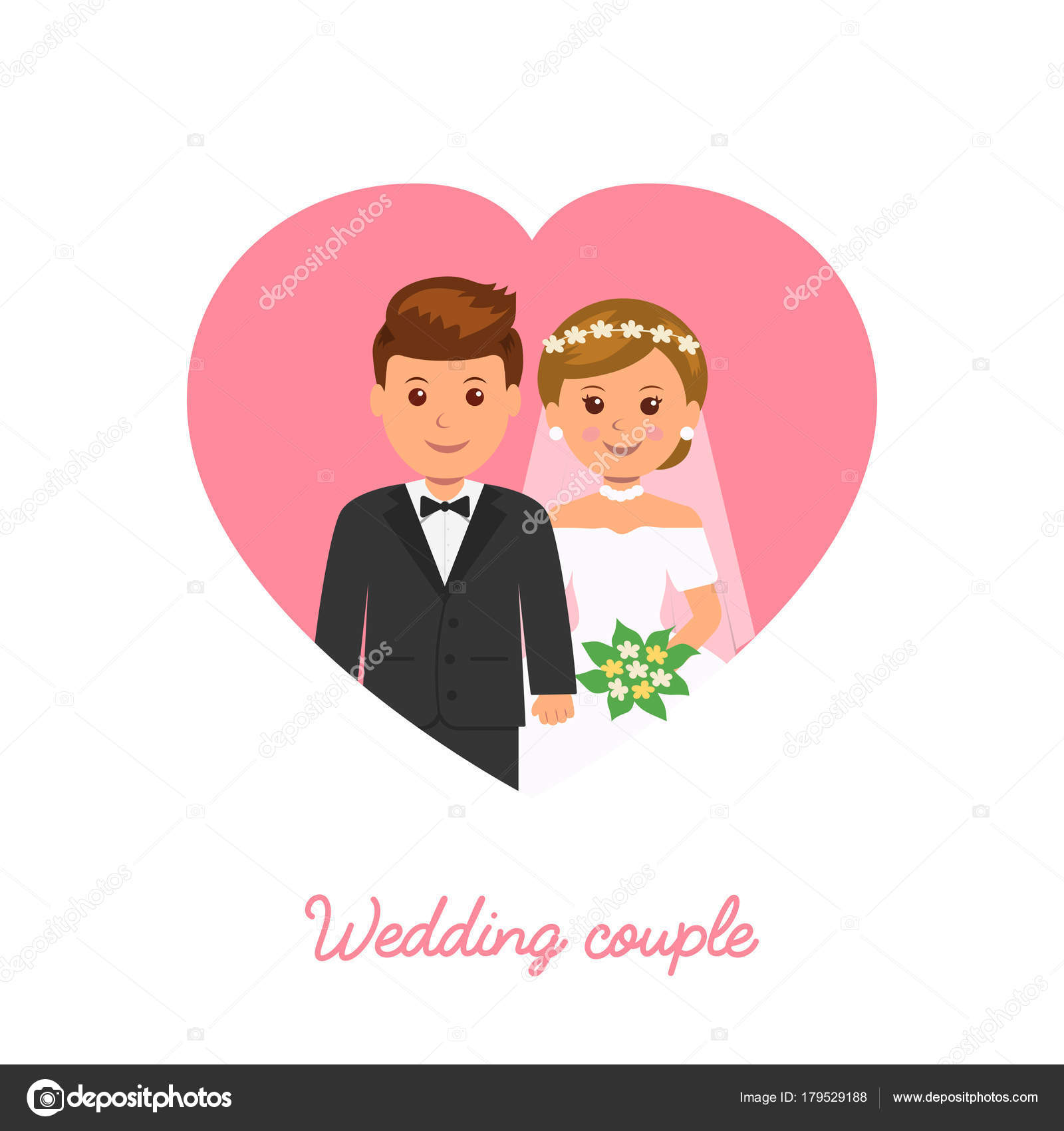 Married couple wedding icon marriage invitation stock vector marriage invitation vector illustration in flat style vector by aurora72 stopboris Gallery