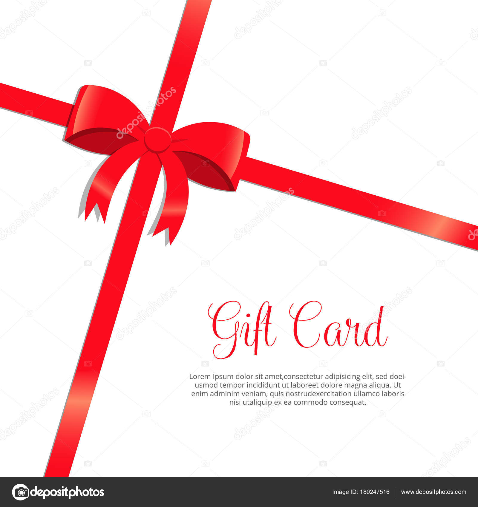 Red Bow And Ribbon Gift Card Holiday Wrapping Template Stock