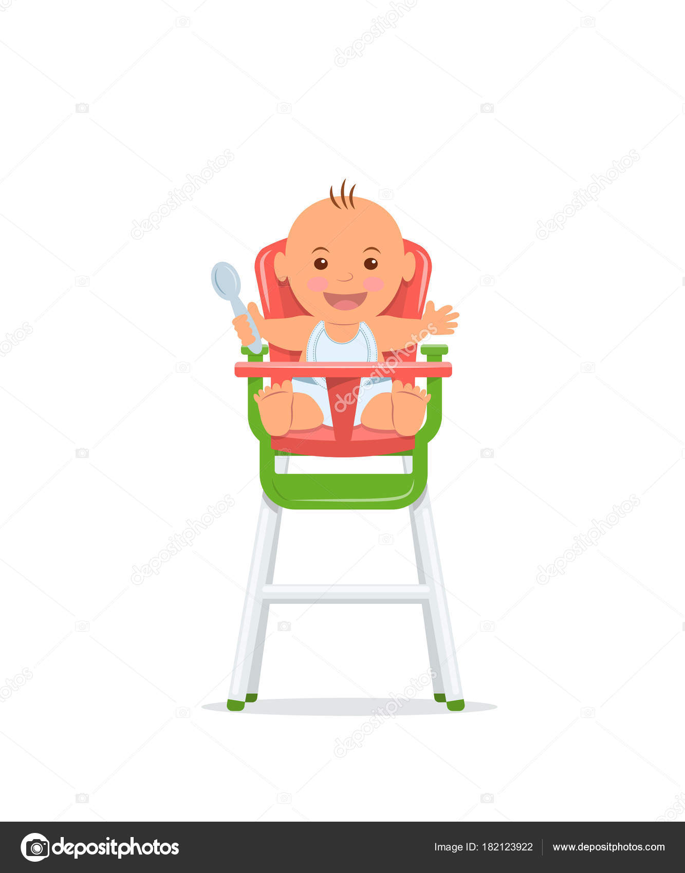 Bambino sveglio si siede su una sedia alta e tiene un cucchiaio ...