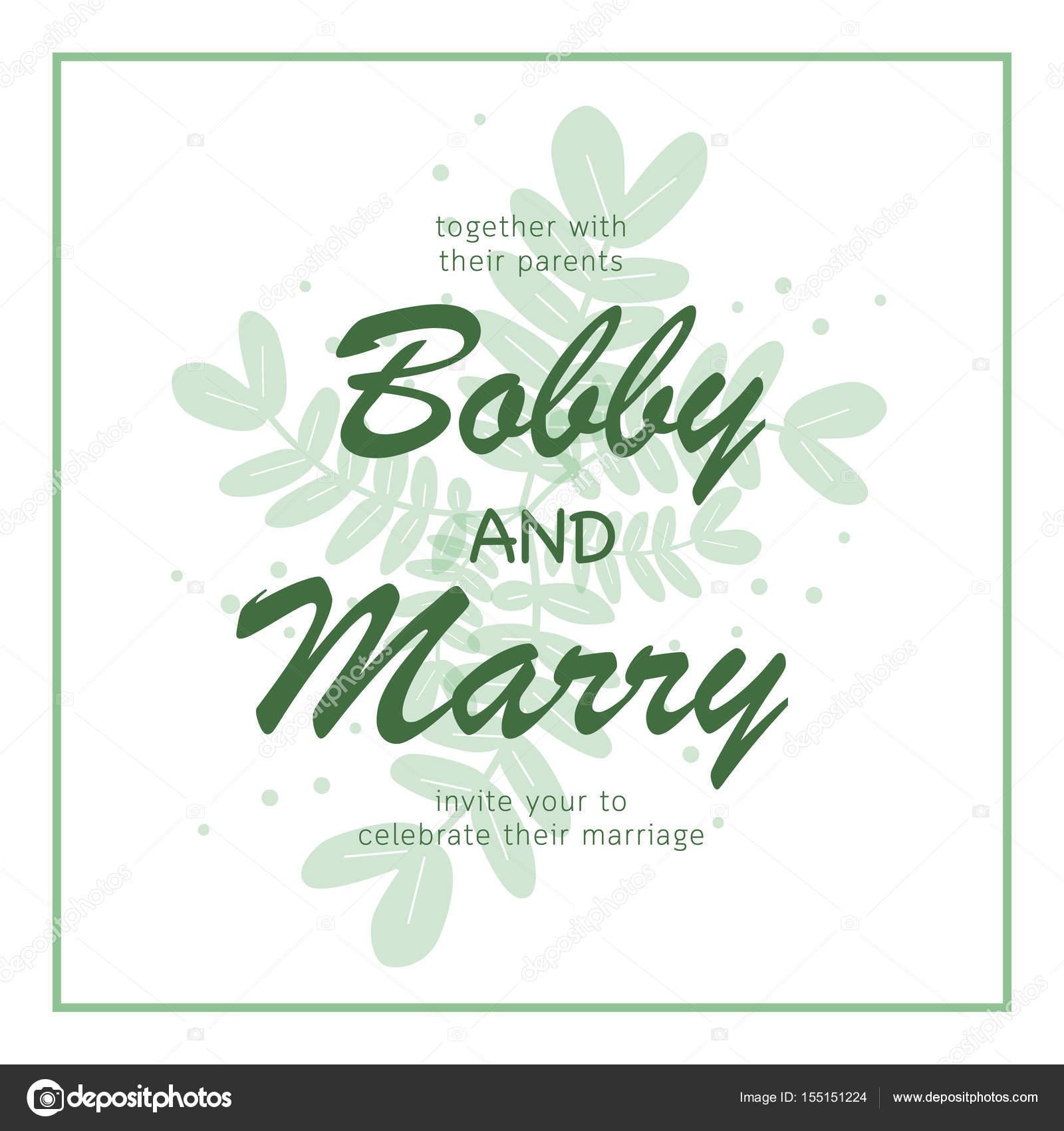 Hojas de color verde elegante plantilla de tarjeta de invitación de ...