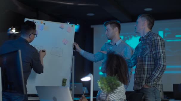 Group of office peoples near whiteboard