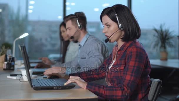 Call center operators at work