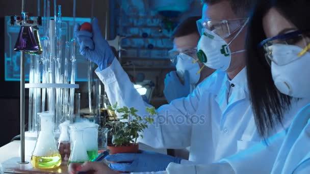 Menschen tropfen Chemikalie in Pflanze