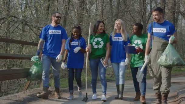 Cheerful diverse team of volunteers