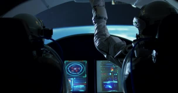 Spaceship with astronauts orbiting around planet