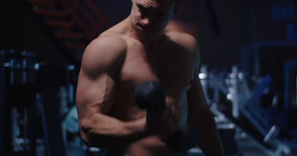 Body builder working out in gym
