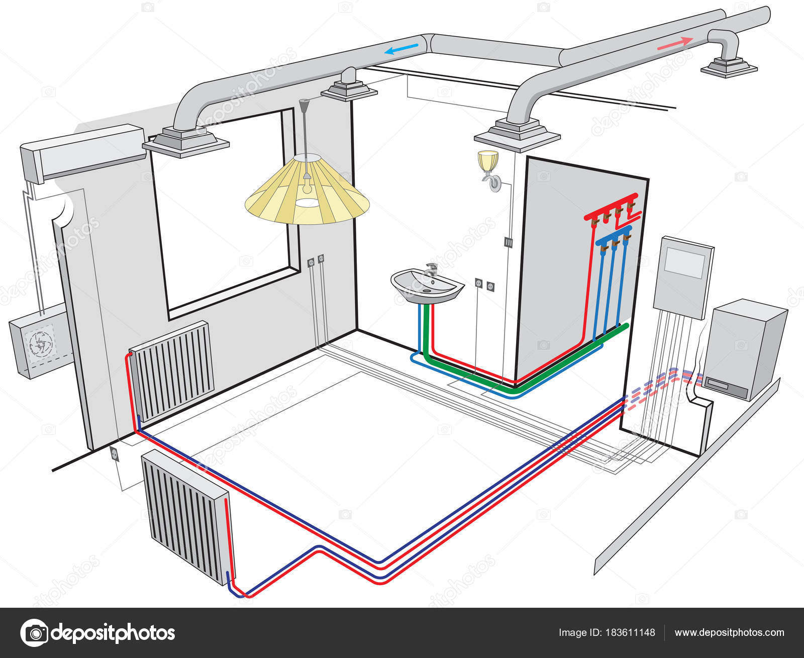 indoor ventilation and independent heating systems — stock vector