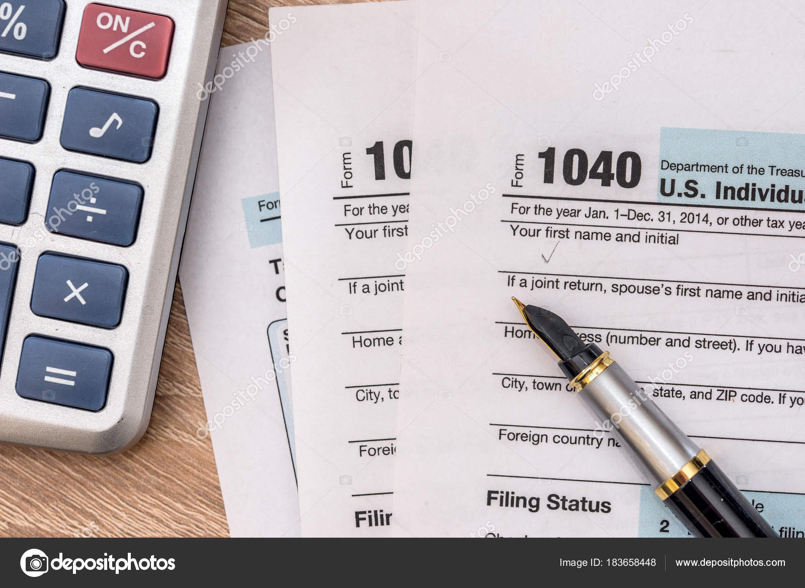 form 1040 calculator  12 Year Tax Form 12 Calculator Pen — Stock Photo ...