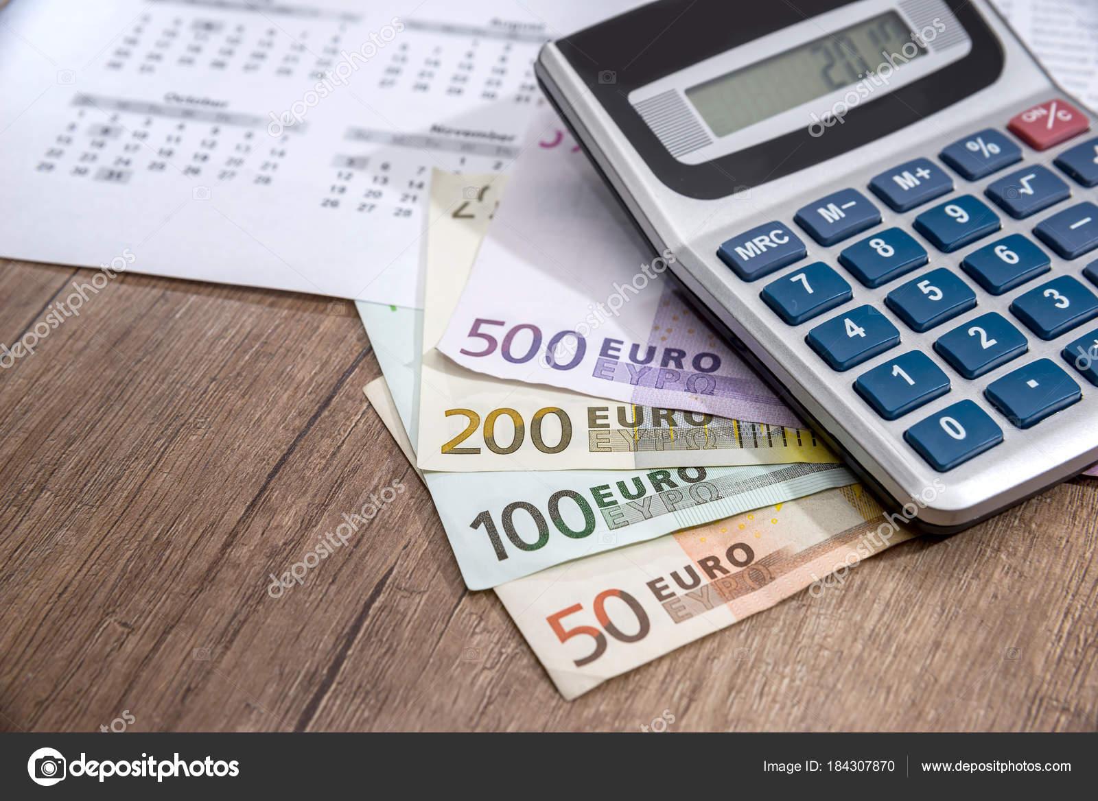 calendar euros calculator coin placed table stock photo alfexe