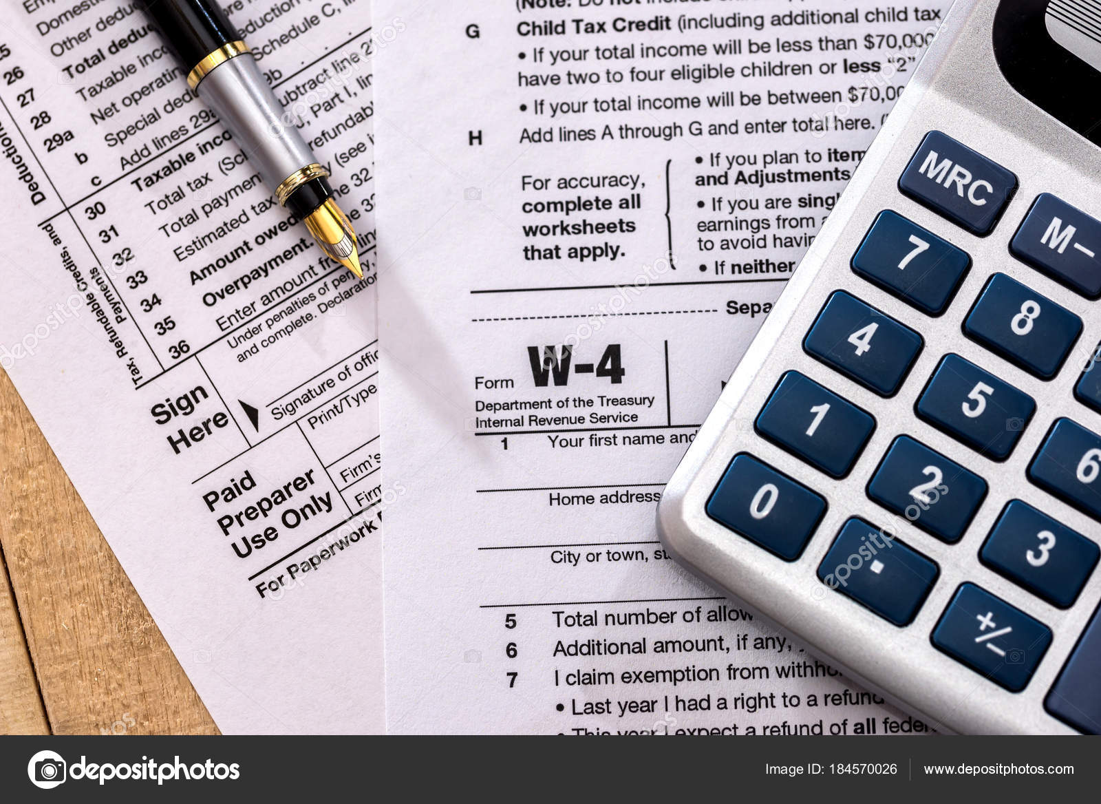 Tax Form 1120 Calculator Pen Stock Photo C Alfexe 184570026