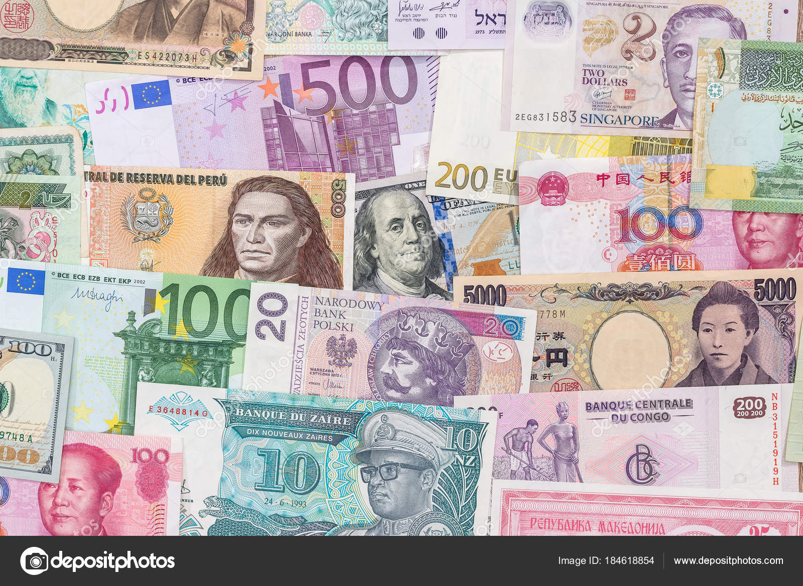 Many Different Currency Banknotes World Country Background