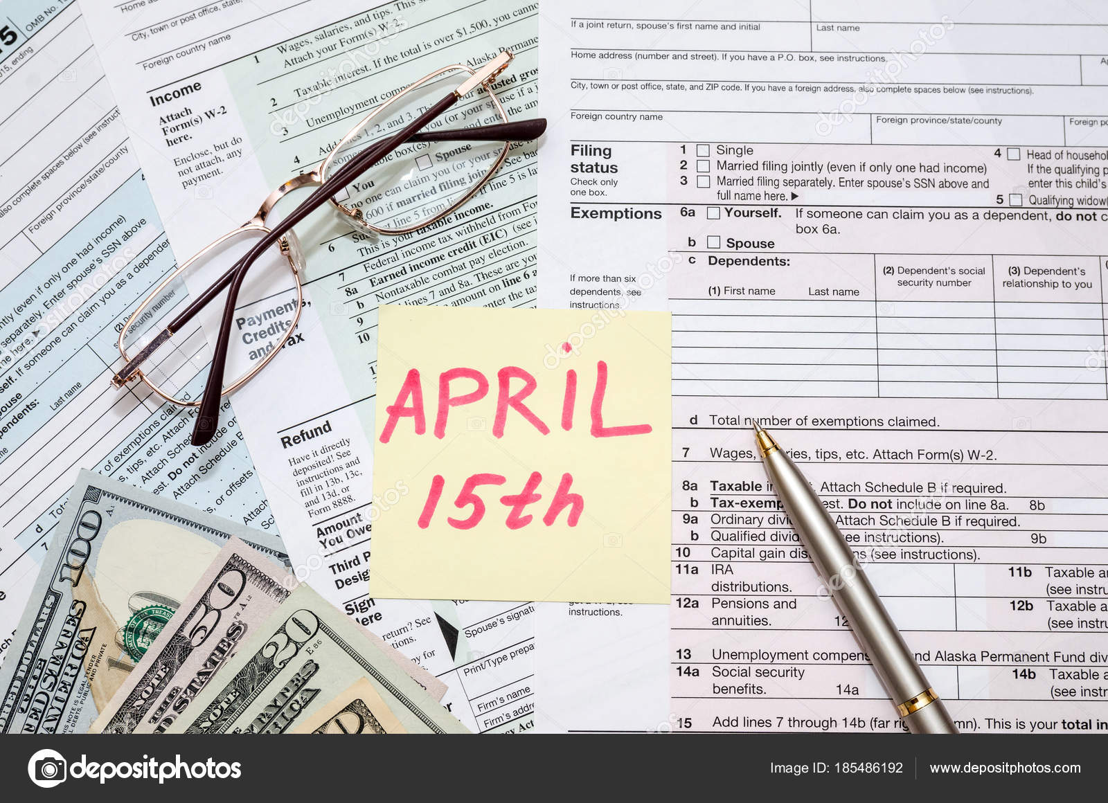 Official Usa Tax Form 11 Calculator Pen Dollar Day Tax ...