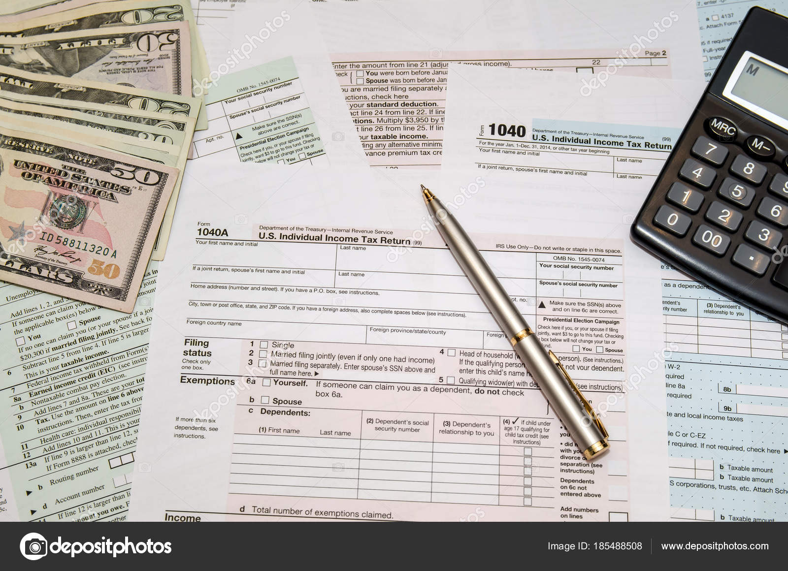 Filing Federal Taxes Refund Tax Form 1040 Calculator Pen