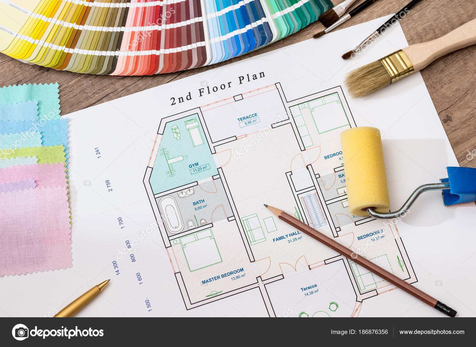 Architectural Plan House Color Palette U2014 Stock Photo