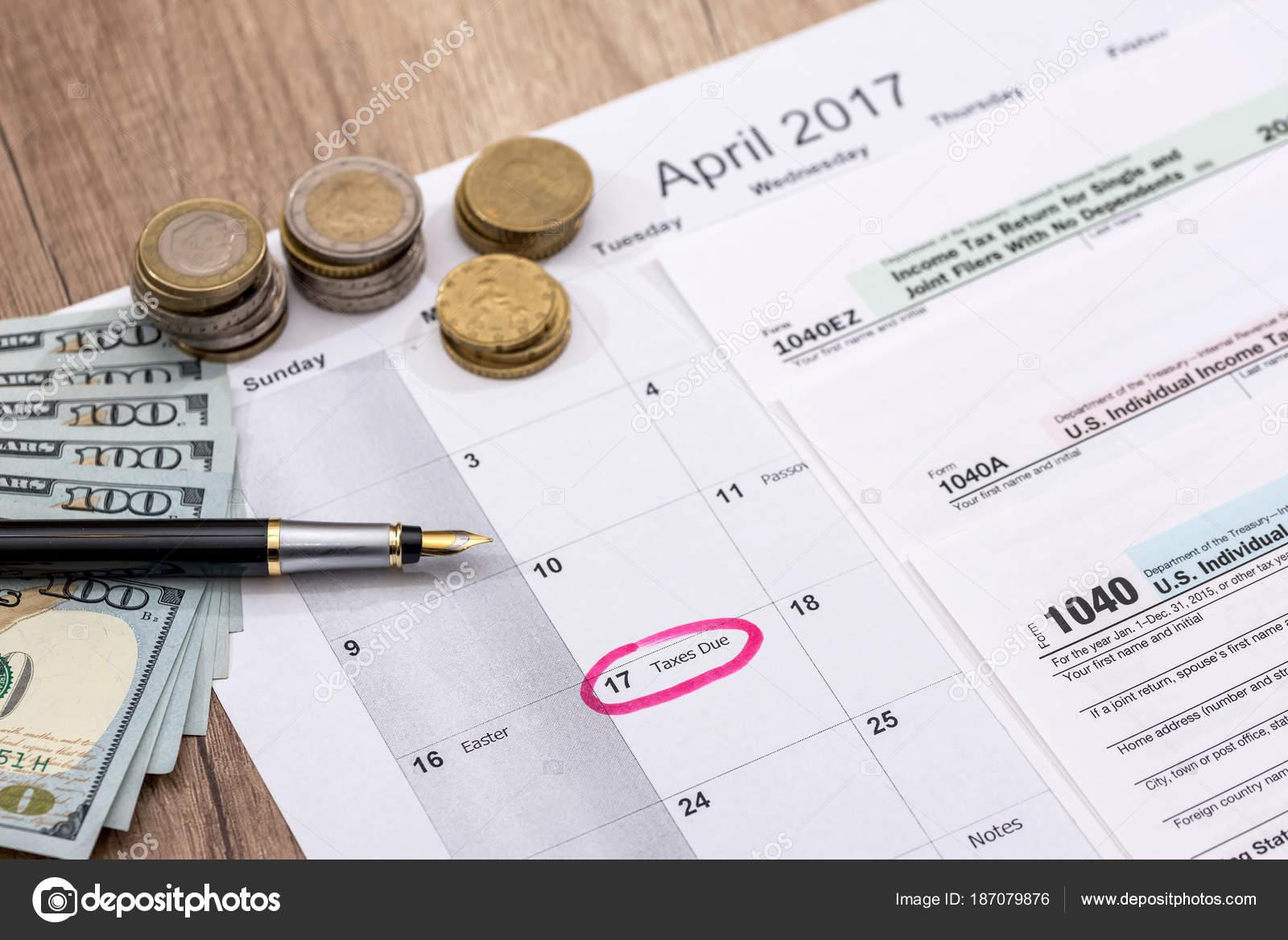 Calendar 2017 Tax Forms Pen Dollars — Stock Photo © alfexe