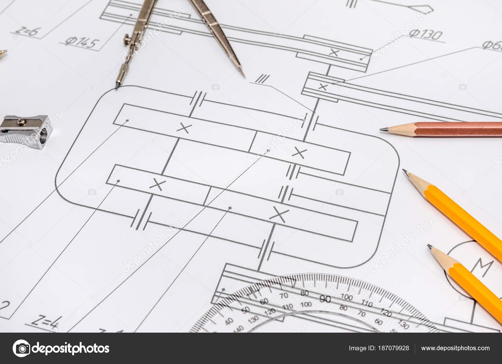 Die Technische Zeichnung Mit Werkzeugen — Stockfoto © alfexe #187079928