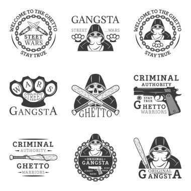 Gangster, ghetto, street wars set of vector vintage logos